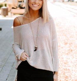 LUXE Easy Breezy Beige Knit Sweater