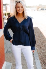 LUXE Anywhere You Go Tailored Waist Blouse