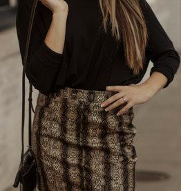 LUXE Slay the Day Snakeskin Skirt