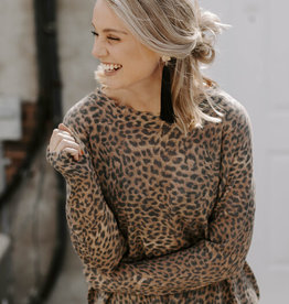 LUXE Love Yourself Leopard Print Light Sweater