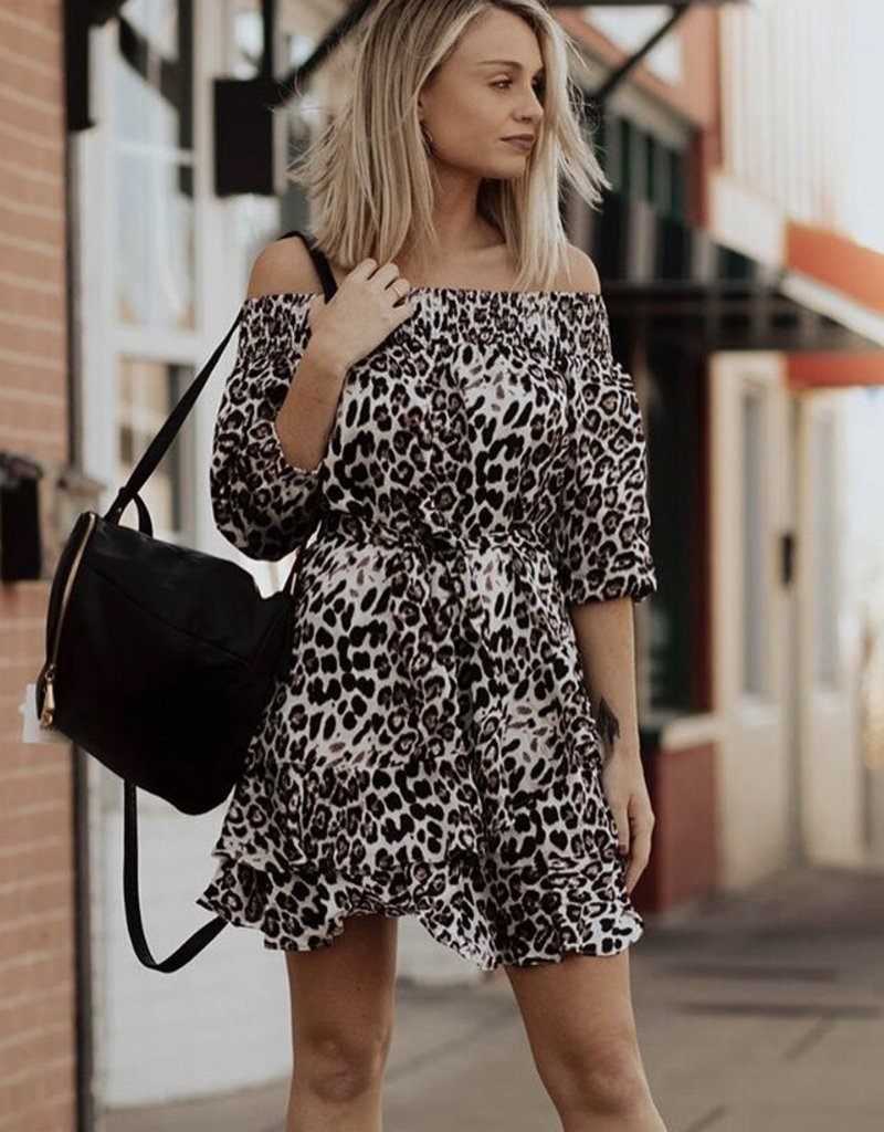 LUXE Brand New Day Off The Shoulder Cheetah Dress