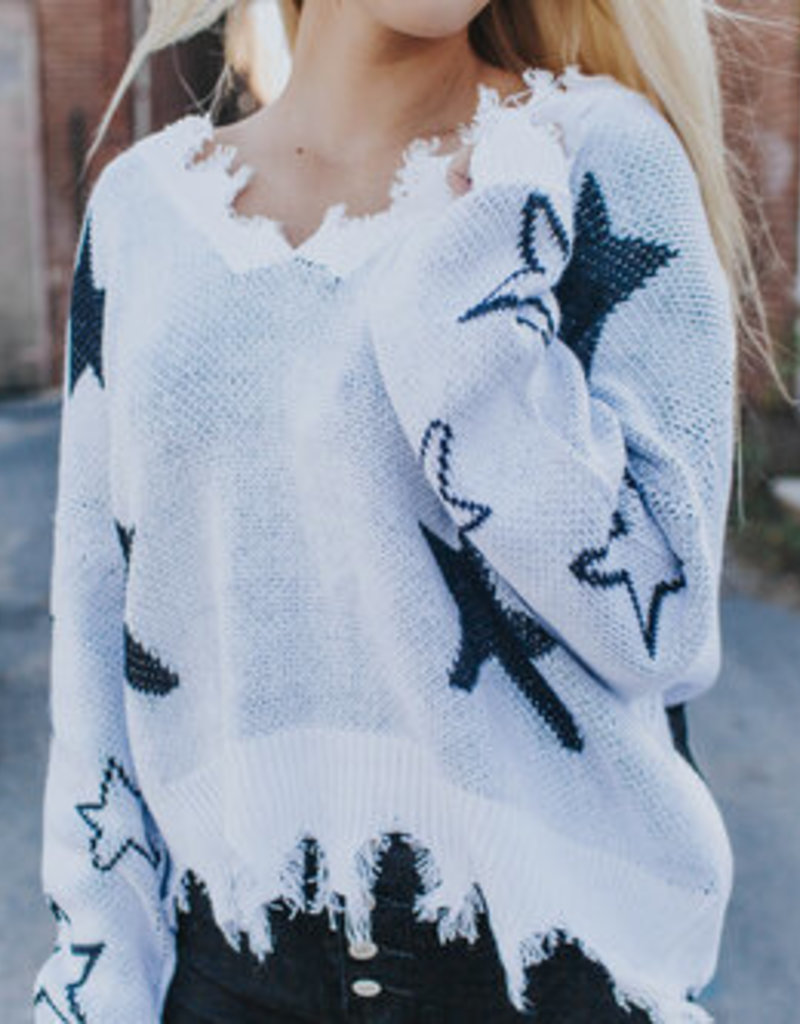LUXE Reach For The Stars Distressed Sweater