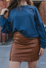 LUXE Calling Me Back Leather Skirt