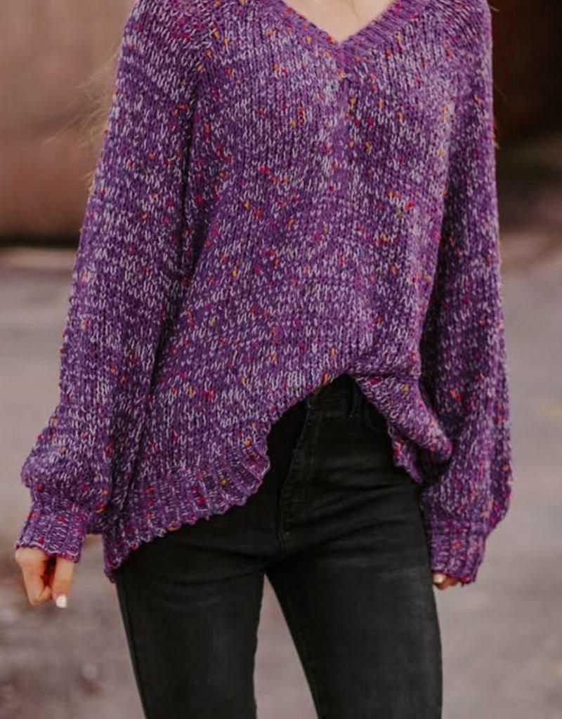 LUXE Whisper My Dreams Purple PomPom Sweater