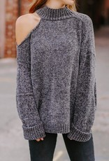 LUXE On My Way To You One Cold Shoulder Sweater