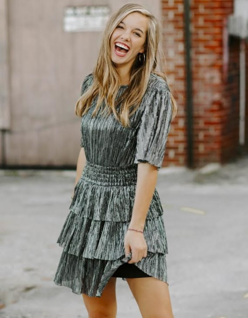 LUXE Your Timeless Love Metallic Ruffle Dress