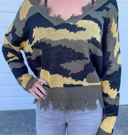 LUXE Hunting For Love V Neck Camo Sweater
