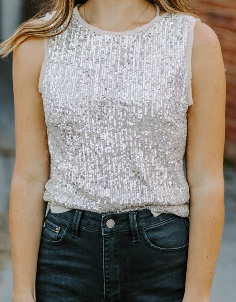 LUXE So Close To My Heart Sequin Tank