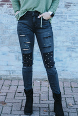 LUXE Patched Up Black Denim Pants