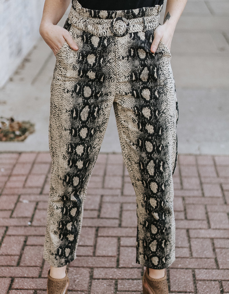 LUXE Snakeskin Belted Paperbag Pants