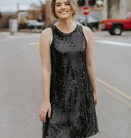 LUXE Slay All Day Black Sequin Dress