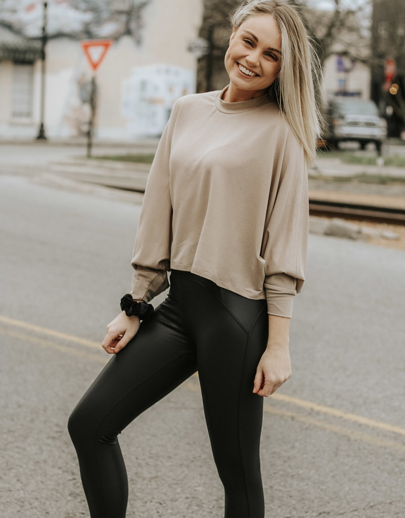 LUXE Over the Moon Cozy Oversized Cropped Top