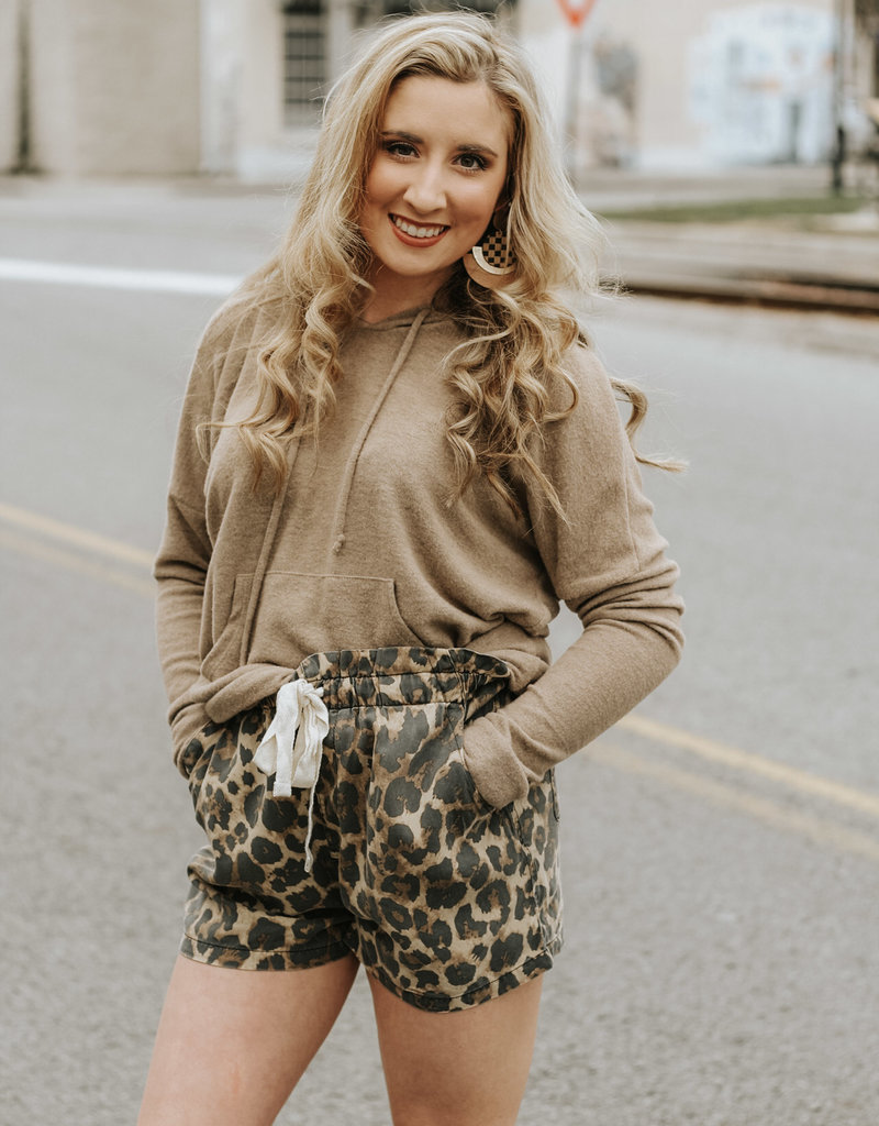 LUXE Always Comfortable Animal Print Jogger Shorts