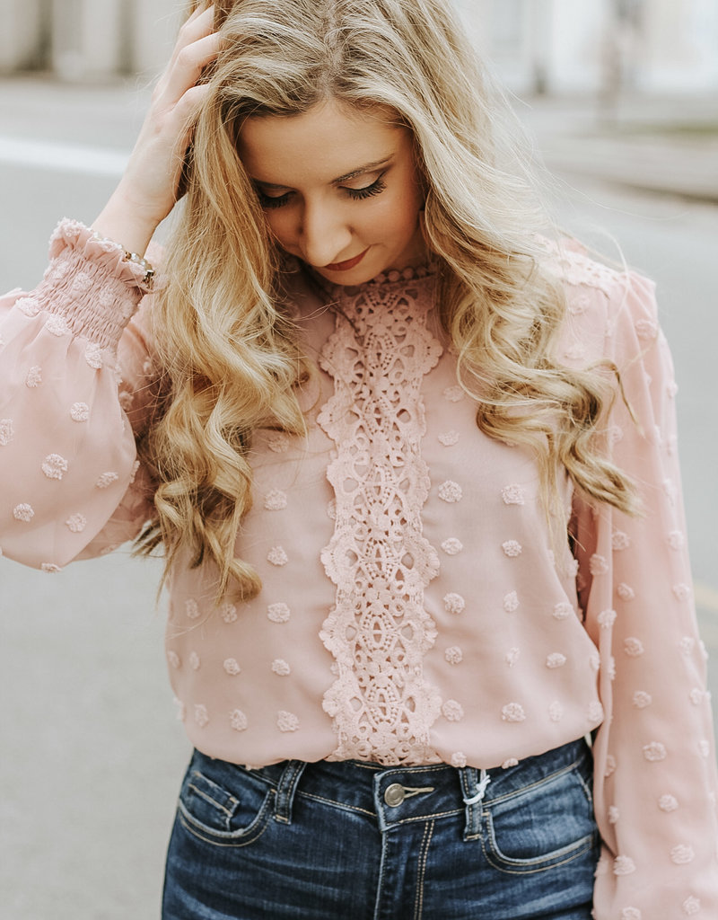 LUXE All In My Heart Lace Detailed Top