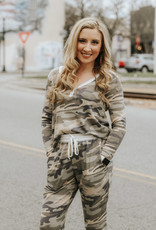LUXE Hard To Miss Me Camo Henley Top