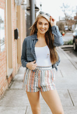 LUXE Stuck On You Striped Shorts