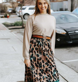 LUXE Pretty Fierce Animal Print Pleated Skirt