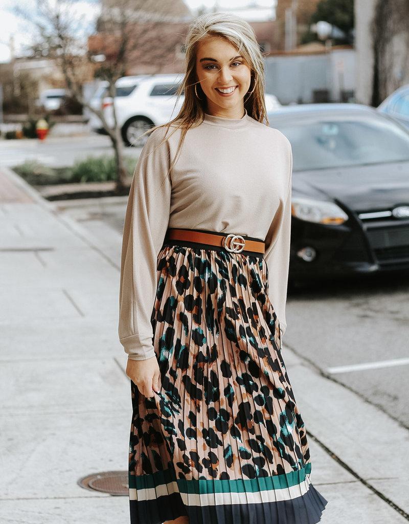 LUXE Pretty Fierce Animal Print Pleated Skirt