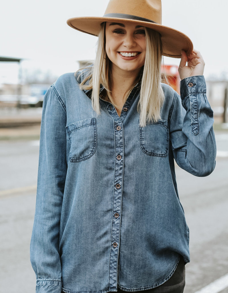 LUXE Forever For A While Denim Top