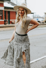 LUXE Work For Your Dreams Animal Print Midi Skirt