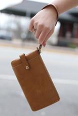 HOBO King Brown Leather Wristlet