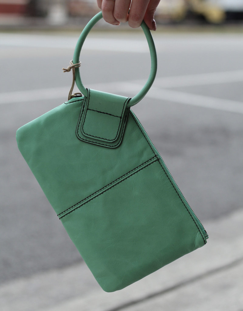 HOBO Sable Green Leather Clutch