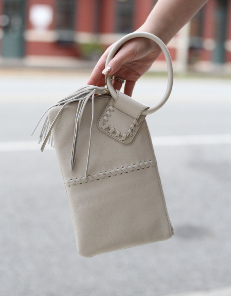 HOBO Sable White Leather Clutch