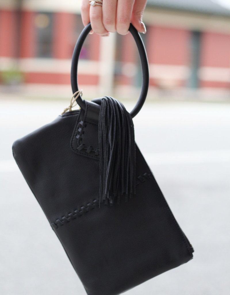 HOBO Sable Black Leather Clutch
