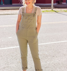 LUXE Missing You The Most Olive Overalls