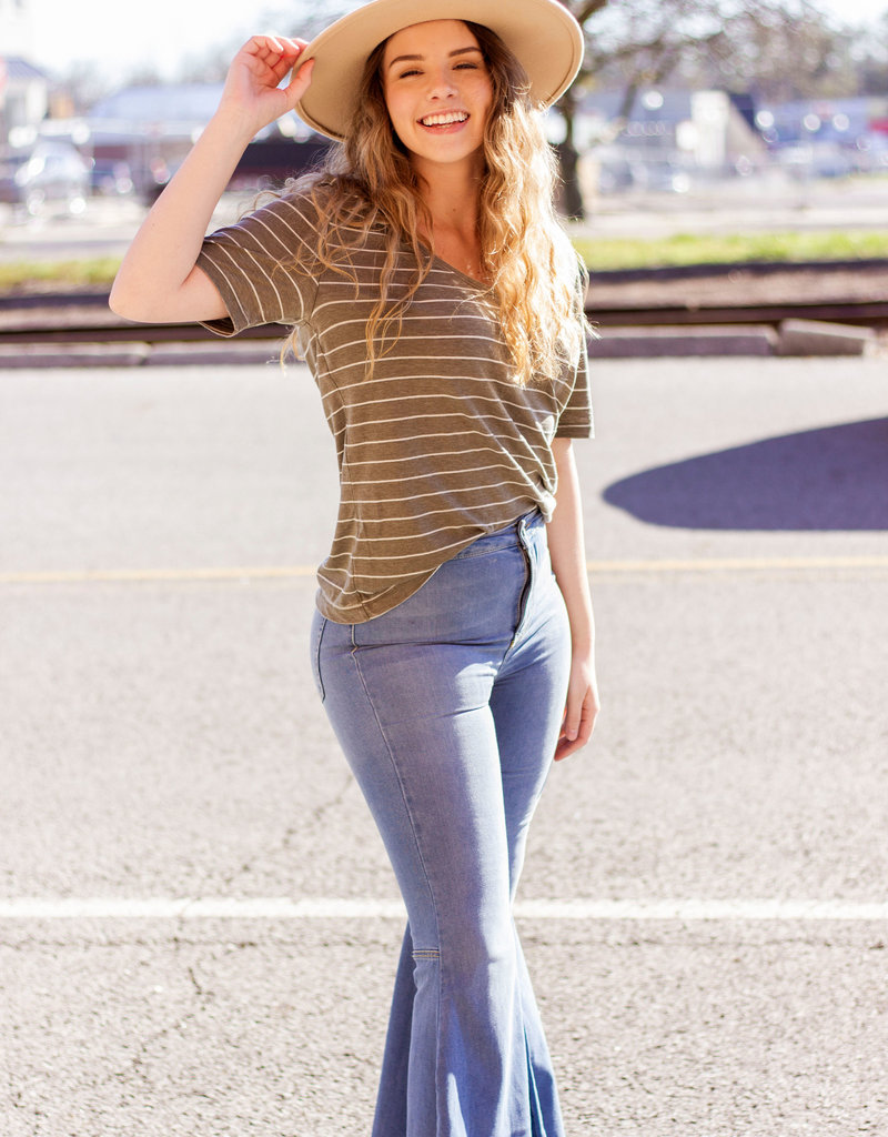 LUXE Want Your Heart Striped Tee