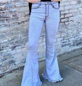 LUXE Throwback Light Gray Bell Bottoms