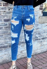 LUXE The Crystal Medium Washed Distressed Skinny Jeans