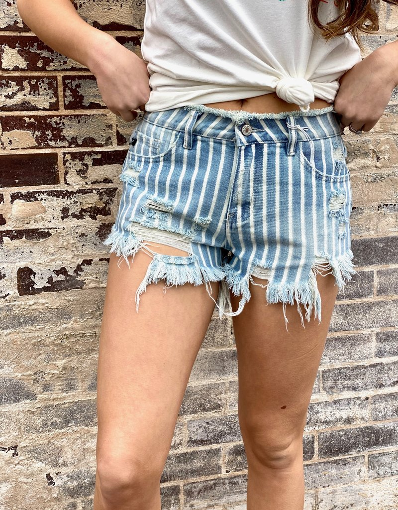 LUXE Go Anywhere Distressed Light Wash Striped Shorts