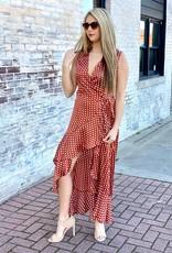 LUXE Hypnotize My Heart Polka Dot Wrap Maxi Dress Rust