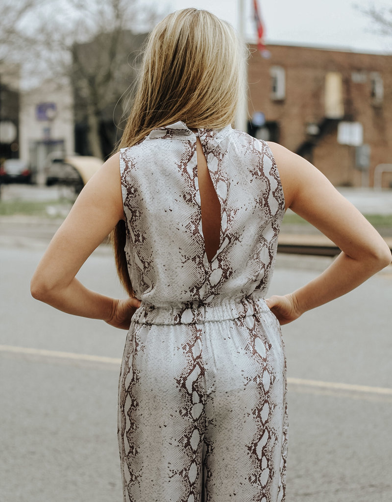 LUXE At Your Best Blue Snakeskin Print Jumpsuit