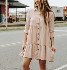LUXE Hold You Dear Pink Babydoll Dress