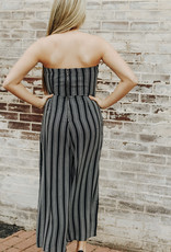 LUXE Dance My Way Black Striped Jumpsuit