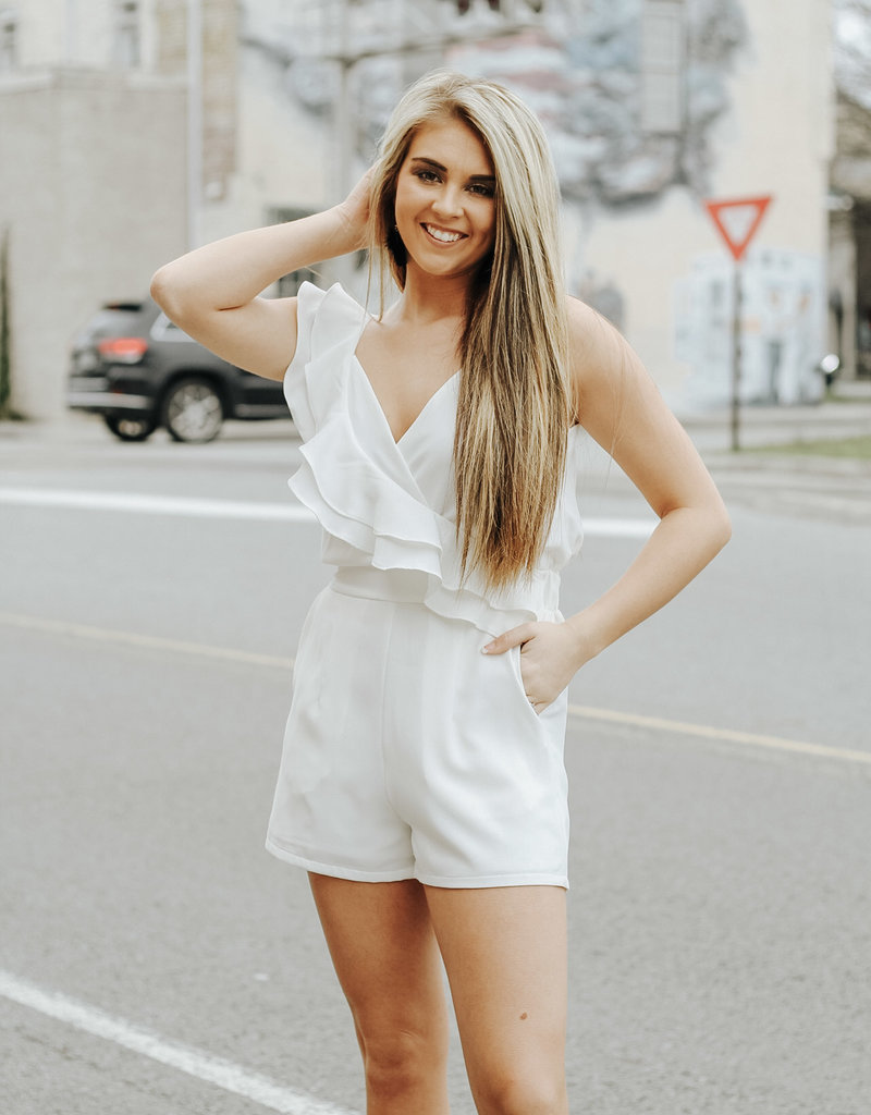 LUXE Playing With Fire White Romper