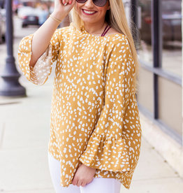 LUXE In my Own Space Speckled Mustard Blouse