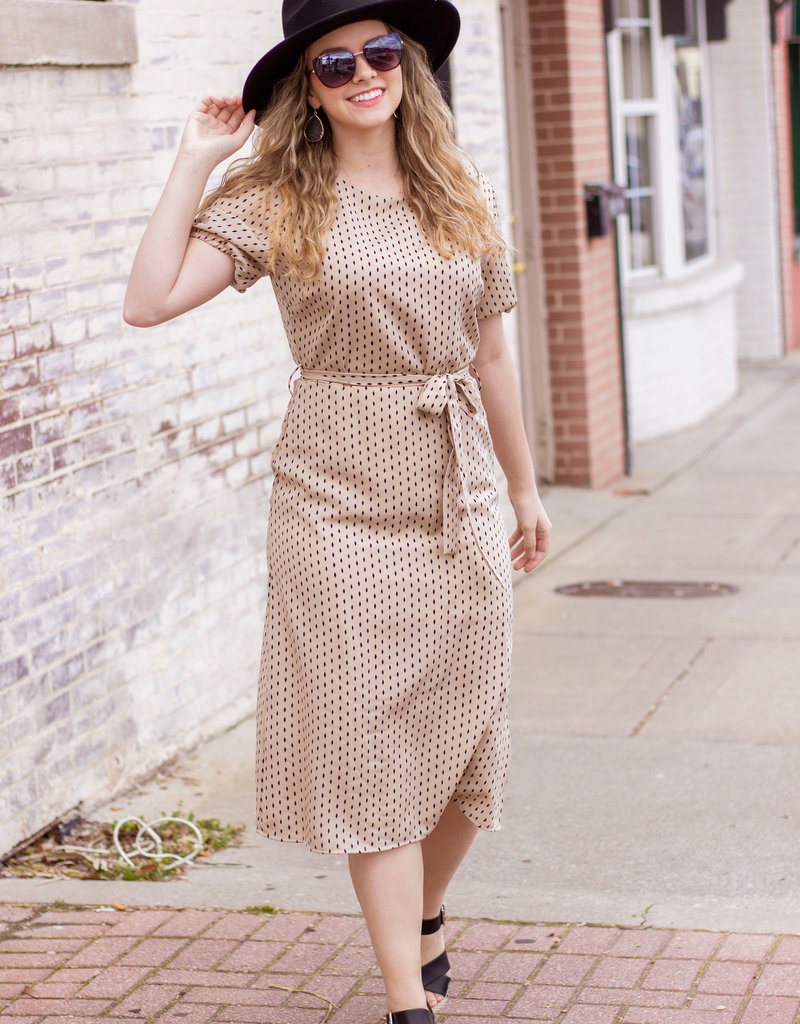 LUXE Your First Love Tan Speckled Maxi Dress