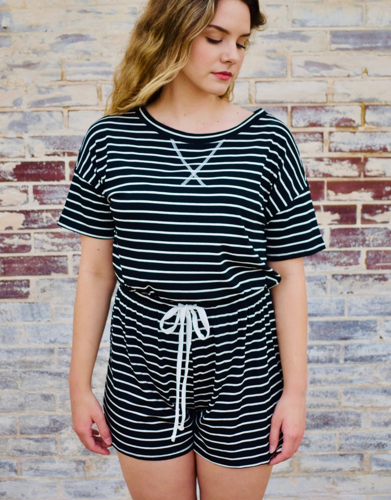 LUXE Happy At First Sight Striped Romper