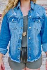 LUXE Stay Beautiful Distressed Denim Jacket