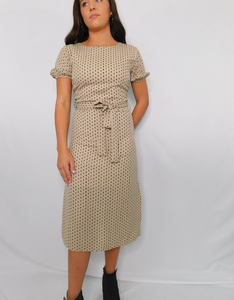 LUXE Hide The Real You Tan Midi Dress