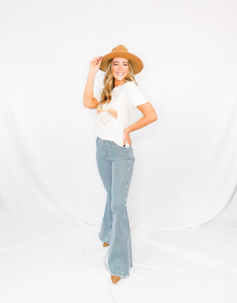 LUXE Be A Voice Navy Striped Flare Jeans