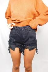 LUXE Irreplaceable Love Black Denim Shorts