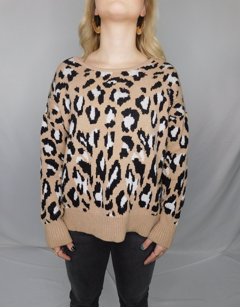 LUXE Let's Do This Open Back Cheetah Sweater