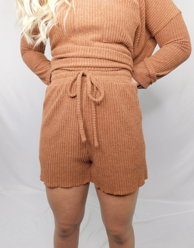 LUXE Let's Stay In Cinnamon Shorts