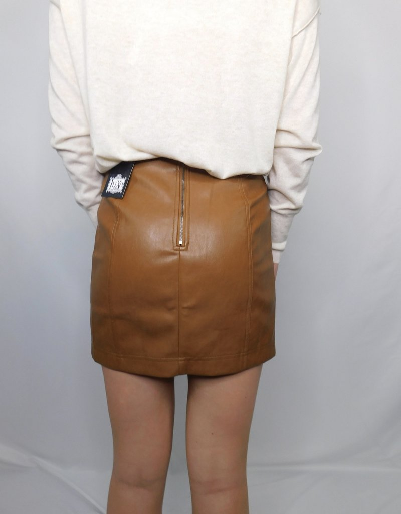 LUXE Don't Change Your Heart Leather Skirt