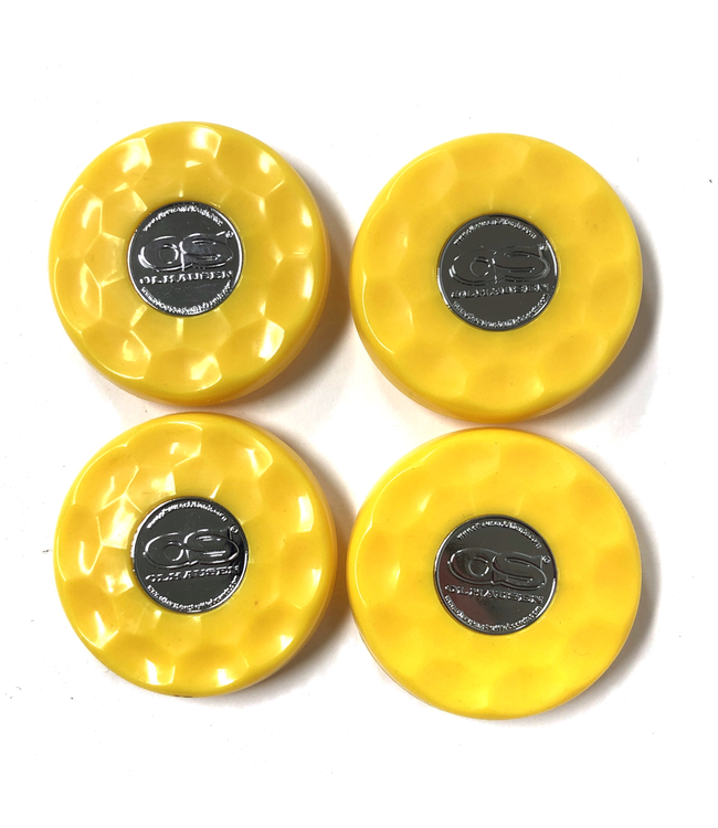 Olhausen Yellow Olhausen shuffleboard set of 4 screw on caps for pucks
