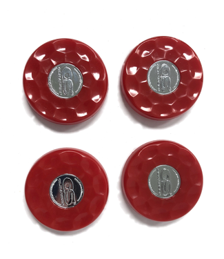 Olhausen Red Olhausen shuffleboard set of 4 screw on caps for pucks